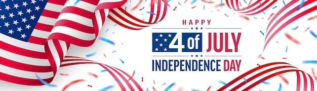 Плакат 4 июля или баннер. празднование дня независимости сша с американским флагом и красной лентой. шаблон рекламного баннера на 4 июля в сша для брошюр, плакатов или баннеров