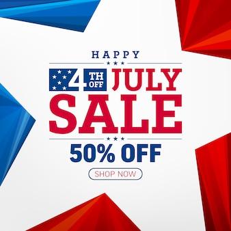 7月4日のセールのポスター。アメリカの独立記念日のお祝い。7月4日のプロモーション