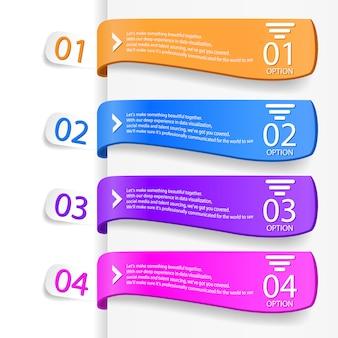 4つのオプションを持つモダンなインフォグラフィックテンプレート。ベクトルイラストワークフローのレイアウト、図、番号のオプション、webデザインに使用できます。