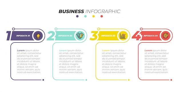 ビジネスインフォグラフィックテンプレート。 4つのステップ、オプションのあるタイムライン。ワークフロー図、情報チャート、webデザインに使用できます。ベクトルイラスト。