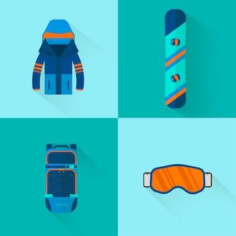 4ウィンタースポーツアイコンコレクション。フラットスタイルのデザインのスキーとスノーボードのセット機器。スキーリゾートの写真、山の活動のための要素