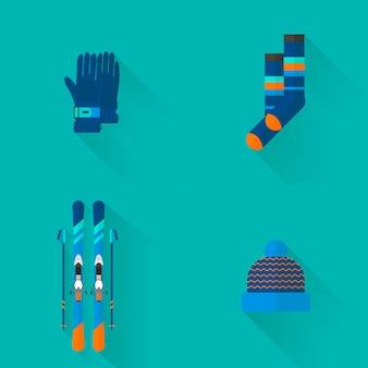 Коллекция иконок 4 зимних видов спорта. комплект оборудования для катания на лыжах и сноуборде в плоском дизайне. элементы для изображения горнолыжного курорта, горные мероприятия