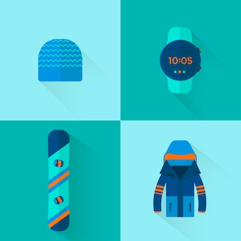 4 winter sport icons collection. skiing and snowboarding set equipment  in flat style design. elements for ski resort picture, mountain activities