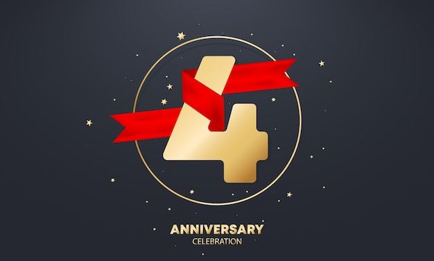 흰색에 빨간 리본이 달린 4년 기념일 배너. 4 년 축하. 포스터 또는 브로셔 템플릿입니다. 벡터 eps 10입니다. 배경에 고립.