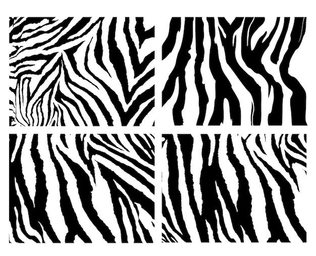 4 얼룩말 패턴 벡터