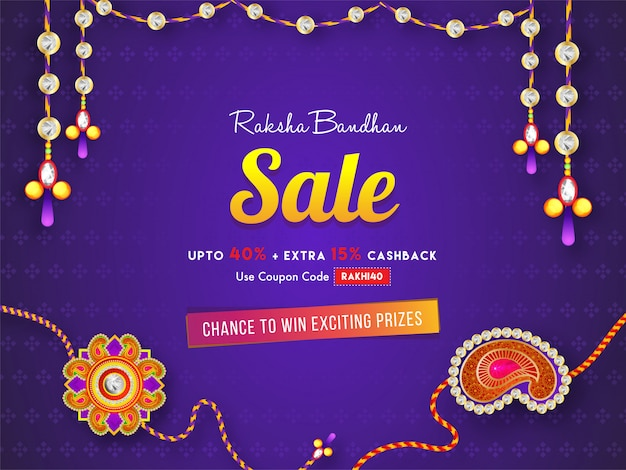 紫色の背景にラクシャバンダンセールバナーまたはポスターデザイン、40%割引、さらに15%のキャッシュバックオファー。