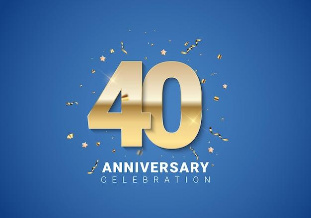 밝은 파란색 배경에 황금 숫자, 색종이 조각, 별이 있는 40주년 배경. 벡터 일러스트 레이 션 eps10