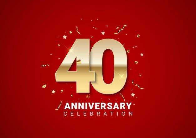 밝은 빨간색 휴일 배경에 황금 숫자, 색종이 조각, 별이 있는 40주년 배경. 벡터 일러스트 레이 션