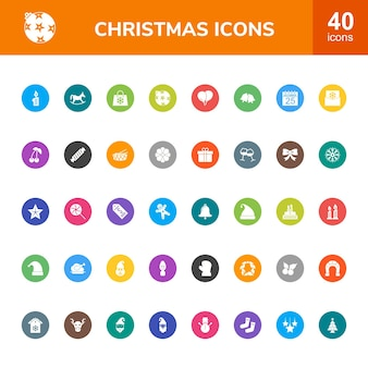 40 christmas circle with multi color icons set