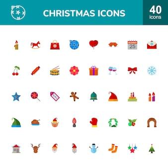 40 christmas flat icons set