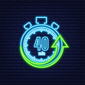 The 40 minutes, stopwatch vector neon icon. stopwatch icon in flat style, timer on on color background. vector illustration.