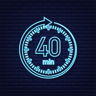 The 40 minutes stopwatch vector neon icon stopwatch icon in flat style