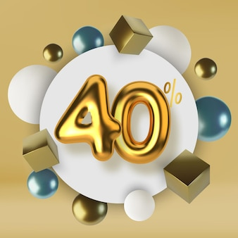 40 off discount promotion sale made of 3d gold text realistic spheres and cubes