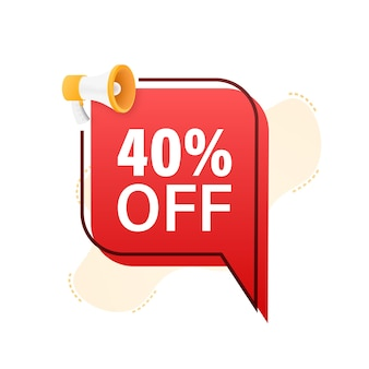 40 percent off sale discount banner with megaphone discount offer price tag