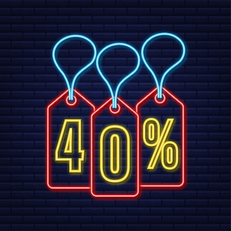40 percent off sale discount neon tag discount offer price tag 40 percent discount promotion