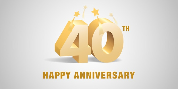 40 years anniversary. 3d golden numbers for 40th anniversary.