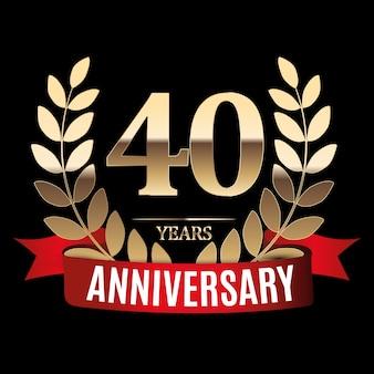 Золотой шаблон 40 лет с красной лентой и лавровым венком