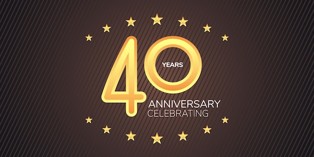 40 years anniversary   icon, logo. graphic design element with golden neon digit for 40th anniversary card