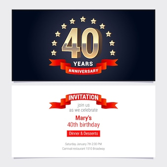 40 years anniversary invitation to celebration vector illustration. graphic design element with golden number for 40th birthday card, party invite