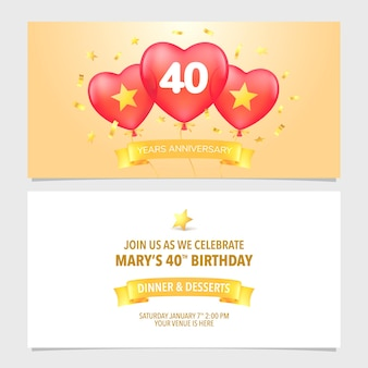40 years anniversary invitation   illustration. design template element with elegant romantic background for 40th marriage, wedding or birthday card, party invite