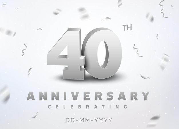 40 years silver number anniversary celebration event. anniversary banner ceremony design for 40 age.