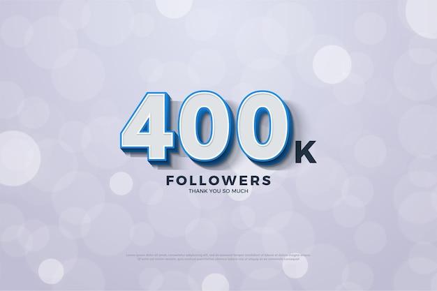 400 тыс. подписчиков с использованием рельефных 3d-номеров