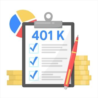 401k financial plan, investment in retirement. pension