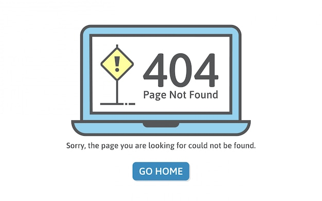 404 concept error in line style. page not found error on blue laptop.