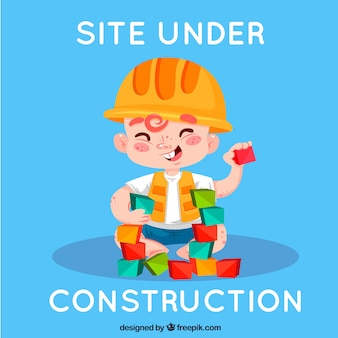 404 error background with a construction worker