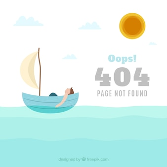 404 error background with boat in flat style
