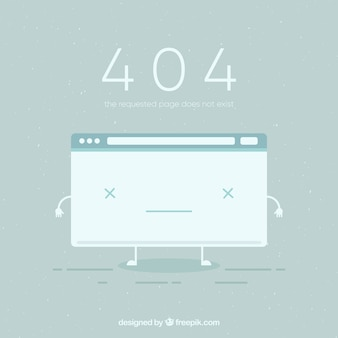 404 error background with broken page in flat style