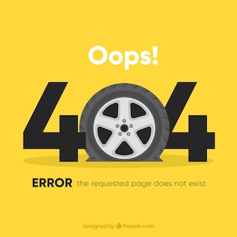 404 error background with car wheel  in flat style