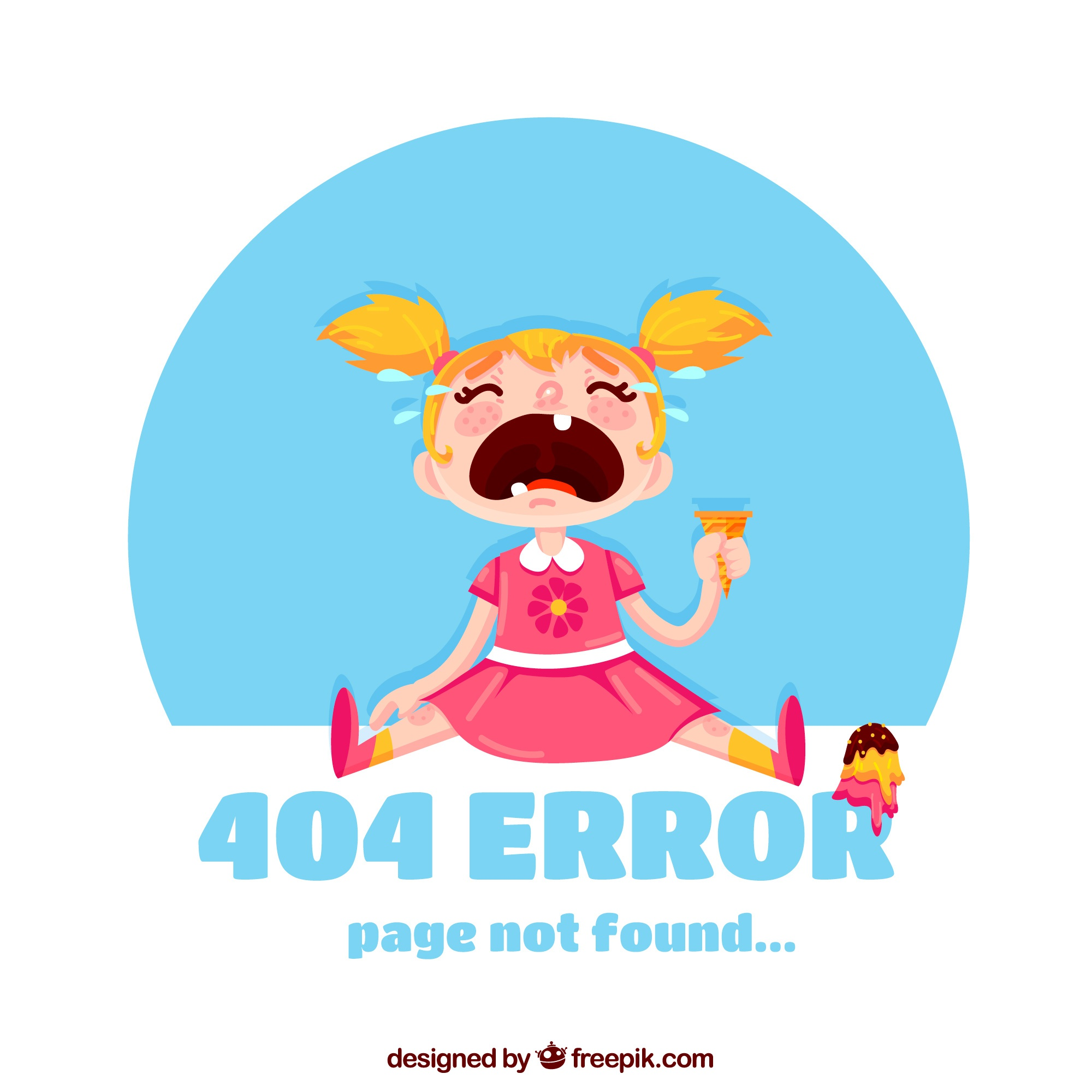 404 error background with girl crying