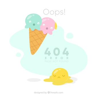 404 error background with melt ice cream in flat style