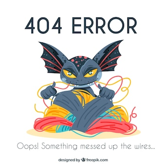 404 error background with monster biting cables