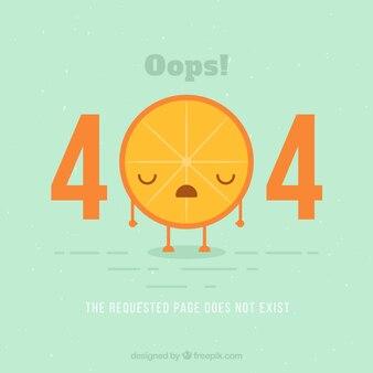 404 error background with orange piece in flat style