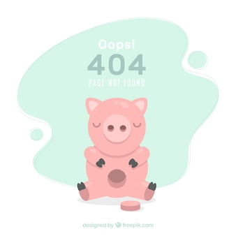 404 error background with piggy bank in flat style