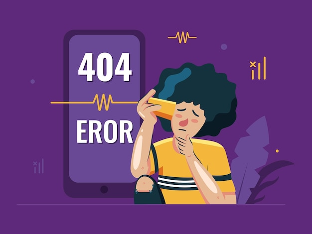404 error concept illustrations with confuse young man