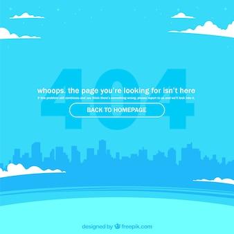 Concetto di errore 404 con la città