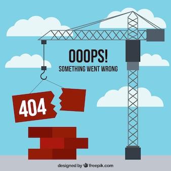 404 error concept with crane