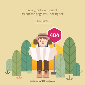 404 error concept with hiker