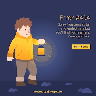 404 error concept with man holding lamp