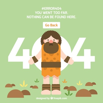 404 error concept with neanderthal