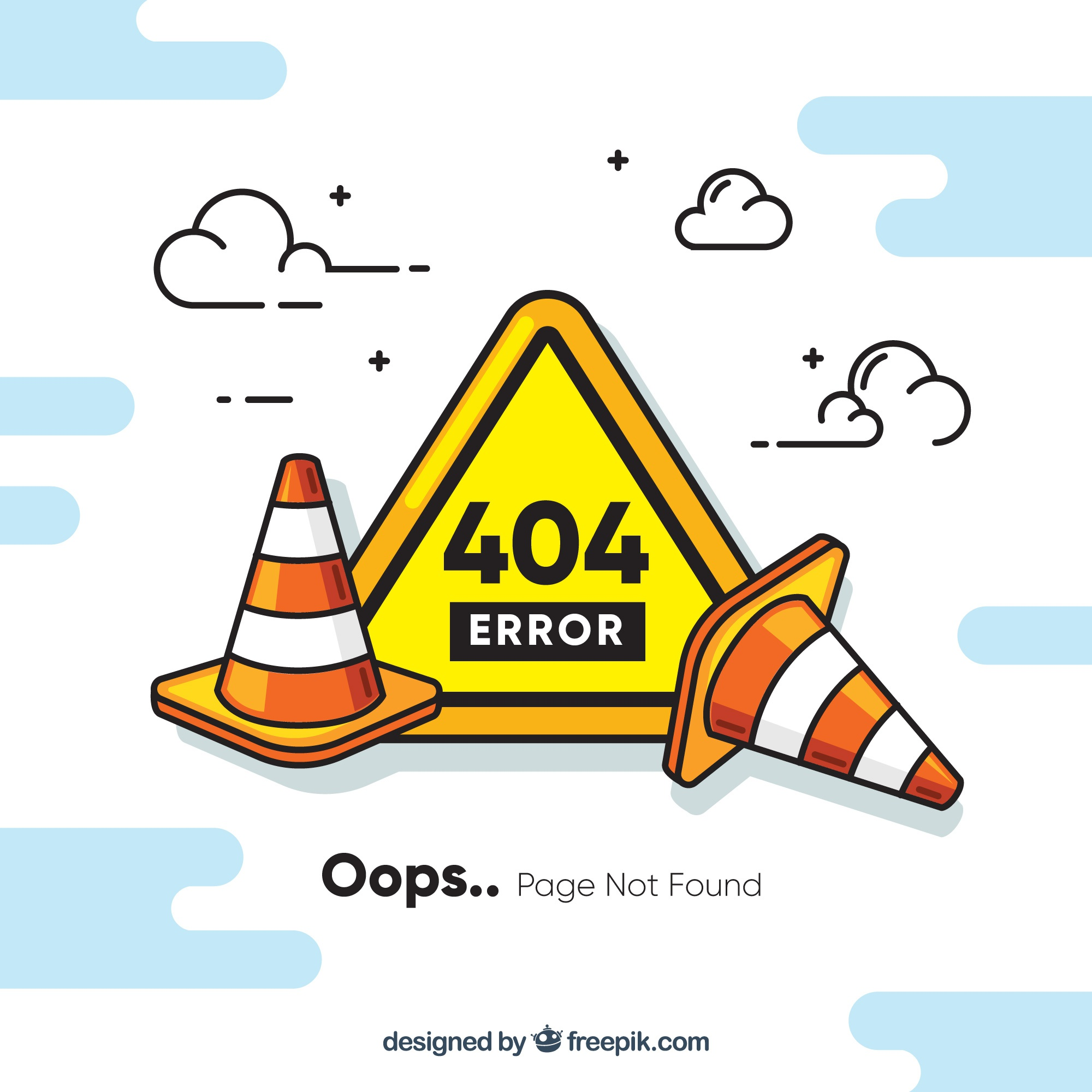 404 error concept with roadworks