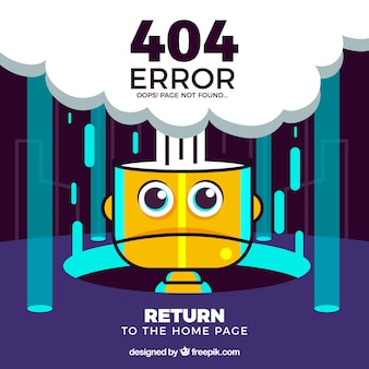 404 error concept with yellow robot