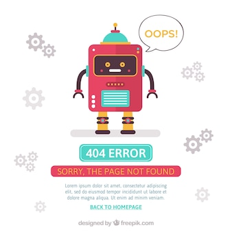 404 error design with red robot