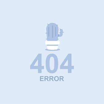404 error  flat concept illustration with a cactus in a pot.