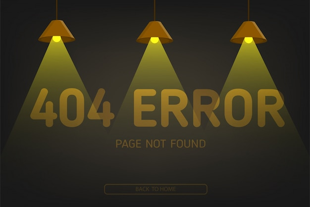 404  error not found page with lighting