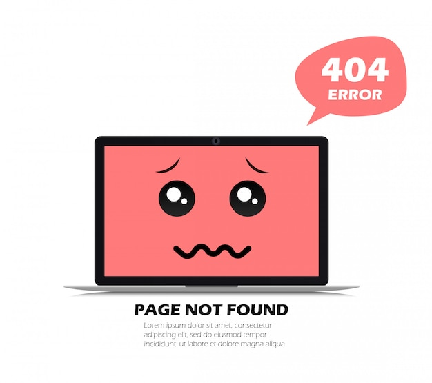 404 error in laptop. page not found.   illustration in flat style.