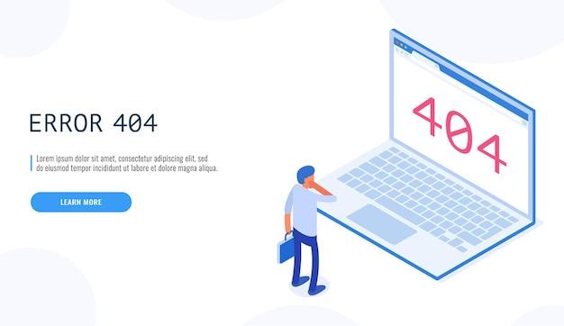 404エラー。ノートパソコンのディスプレイの漫画でページが見つからないメッセージを見ている男性。クライアントサービスは利用できません。